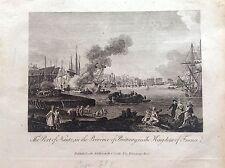 PORT DE NANTES UNIE DE BRETAGNE acquaforte 1817 Cooke FRANCE Bateaux