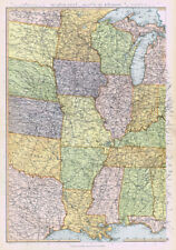 UNITED STATES OF AMERICA Mississippi Valley - Antique Map 1895 by Blackie
