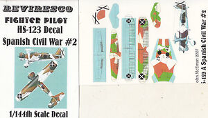 Henschel HS 123 - Schlachtflugzeug Spanischer Bürgerkrieg - 1:144 - Decal Set 2