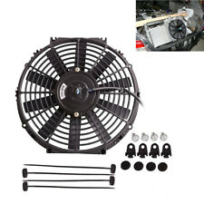 Black 12V 80W Car Slim Electric Plastic Cooling Fan Radiator With Mounting Kit