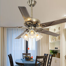 "52"" Bronze Stainless Steel Chandelier Control Remote Ceiling Fan Lamp Light"