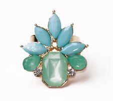 Pistacho Azul Cielo De Oro De Tono Ultimate Joya Flor ajustable anillo de metal (cl21)