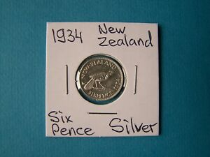 NEW ZEALAND COINS 1934 YEAR 6 PENCE NICE SILVER COIN.
