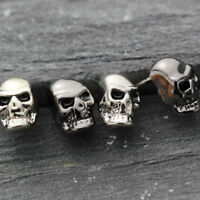 Women Man 18K White Gold Plated 3D Gothic Punk Skull Head Face Stud Earrings Set