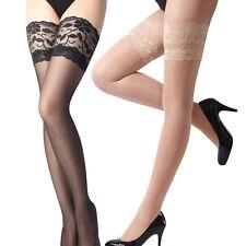 Sheer Back Seam Thigh High Hi Nylons Stockings Hosiery Regular
