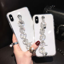 For iPhone 12 11 Pro XS Max XR 7 8 Girls Clear Case Cover w/ Bling Diamond Strap