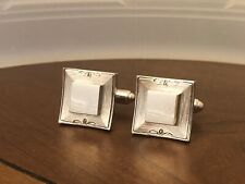 Vintage Mid Century Swank Modernist Squares And Diamonds Cuff Links Silver Tone