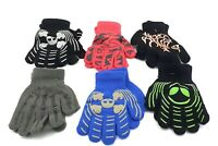 Boys Winter Warm Gloves Solid Design Knitted Mittens 6 Pairs