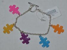 Claire's Silver Tone Glitter Puzzle Charm Toggle Bracelet
