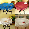 Vintage Floral Tablecloth Cotton Crochet Lace Round Table Cover Home Party Decor