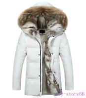 Men's Overcoat Coat Goose Down Jacket Big Fur Collar Hooded Outerwear Winter HOT
