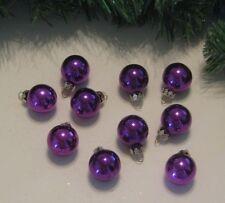 Miniature Small Balls Ornaments Purple Christmas Glass Shiny, Feather Wire Tree