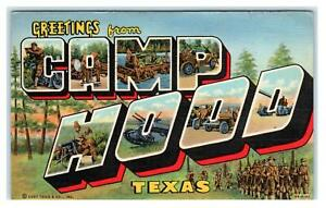 CAMP HOOD, TX Texas ~  LARGE LETTER LINEN  1943 Curt Teich Soldier Mail Postcard