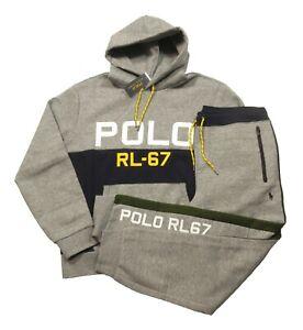 Polo Ralph Lauren Men's Dark VIntage Heather Grey Double Knit Hoodie & Pant Set