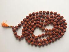 RUDRAKSHA RUDRAKSH MALA JAPA ROSARY 108 +1 BEAD YOGA HINDU PRAYER MEDITATION 7MM