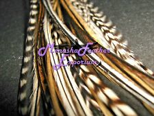 Feather hair extensions Long NATURAL GRIZZLY variant mix rooster Saddle Hackle