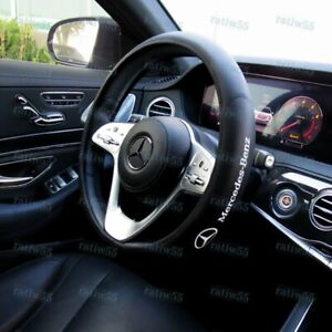 """15"""" Car Steering Wheel Cover Faux Leather For Mercedes-Benz AMG 2019 +FREE GIFT"""