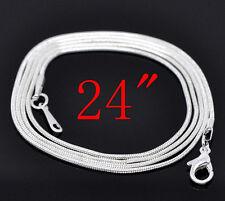 12 Colliers Chaîne Serpent Fermoir à Mousqueton Argenté 60.96cm