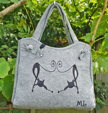 Grey Felt Hand Made Tote Shoulder Handbag with Duelling Cats Fully Lined ~ SALE