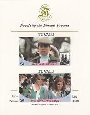 Tuvalu 7162 - 1986 ROYAL WEDDING pair on Format International PROOF  CARD