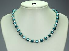 "Teal blue glass pearl 8mm bead necklace, silver crystals, filigree caps 20""+2"