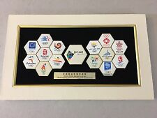 "UNIQUE ""JET SET"" OLYMPIC HEXAGONAL PINS BADGES SUMMER WINTER GAMES 1984 TO 2008"