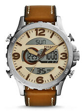 Fossil JR1506 Men's Nate Leather Band Alarm Chronograph Analog Digital Watch