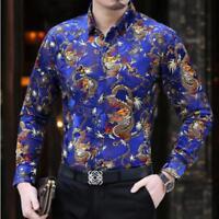 Mens Shirt Floral Shirts Blouse Slim Fit Casual Dress Long Sleeve Dragon Formal