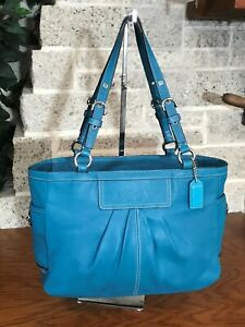 COACH TEAL BLUE LEATHER EW GALLERY TOTE 13759 PURSE BAG HANDBAG SHOULDER SHOPPER