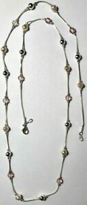 """Premier Designs Jewelry Tres Pink 30"""" Necklace Silver w Faux Pearls & Pink"""