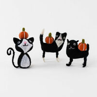 "Felt Black Cat with Pumpkins Set of 3 - Halloween 4.5"" Figurines"