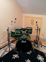 Pearl Session Custom Maple Green Burst 4 Piece Drumset *RARE*