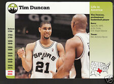 TIM DUNCAN San Antonio Spurs Basketball 2000 GROLIER STORY OF AMERICA CARD