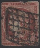 "FRANCE STAMP TIMBRE N° 6 "" CERES 1F CARMIN FONCE 1849 "" OBLITERE A VOIR"