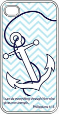 Chevron Anchor with Bible Verse Philippians 4:13 iPhone 5 Clear TPU Case Cover