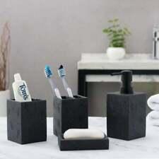 Black Textured Bathroom Accessory Set