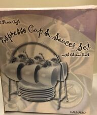 Gaunaurd 12 Piece Exresso Cup and Saucer Set with Chrome Rack