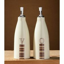 Neapolitan Oil and Vinegar Set, Ceramic With Line Detail & Lid of your Kitchen