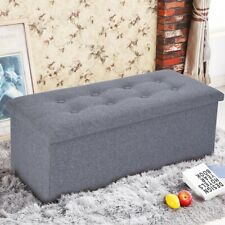 Storage Bench Ottoman Chest Collapsible Folding Foot Rest Footstool Linen Gray