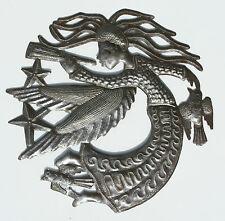 Ange, fait main en métal recyclé, artisanat métal 28cm Haïti tambour mur d'art
