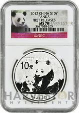 2012 SILVER CHINA PANDA - S10Y SILVER BULLION COIN - NGC MS70 FIRST RELEASES