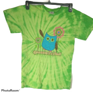 Women's Owl T-Shirt Size Small Gymnastics is a Hoot Green Tie Dye Graphic