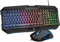 PiCTEK Ergonomic LED Backlit Wired Gaming Keyboard & Mouse Combo Programmable
