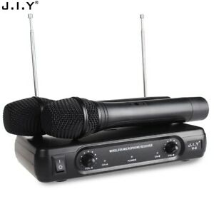 Wireless VHF Microphone Dual 2X Channel Cordless Handheld Radio Mic System Set