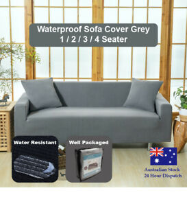Sofa Cover Grey Couch Covers 1 2 3 4 Seater Waterproof Lounge Slipcover Protect