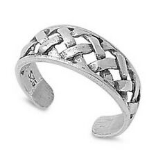 Best Choice Jewelry Gift Width 6 mm Braid Toe Ring Genuine Sterling Silver 925