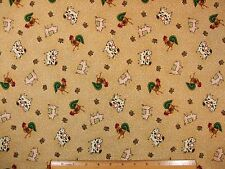 Roosters Cows Pigs Farm Animals Folk Art Look II cotton fabric BY THE YARD BTY