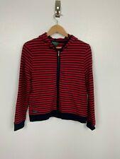 Lauren Ralph Lauren Woman Hood Jacket Petite Sz PS Top Full Zip Striped Red Blue