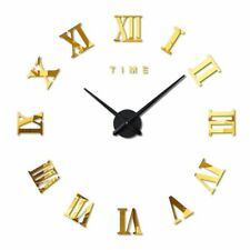 Extra Large Wall Clock Sticker Unique 3D Décor Decal Huge Diameter 1M Gold DIY