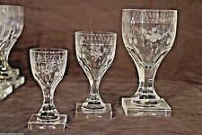 Rare set 34 antique Georgian crystal wine glasses quality engraved Empire 1800's